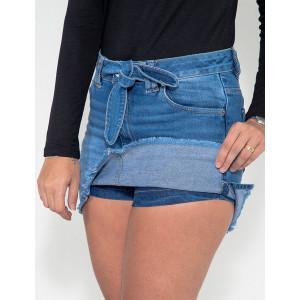 c856d2cde3 Saia Shorts Jeans Atacado Cinto Fixo Feminina Revanche Ynes