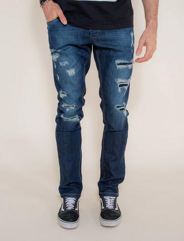 Calças Jeans Atacado Destroyed Escura Masculino Revanche Foggia Azul Frente