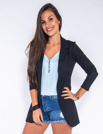 Blazer Atacado Max Feminino Revanche Berna Preto Frente