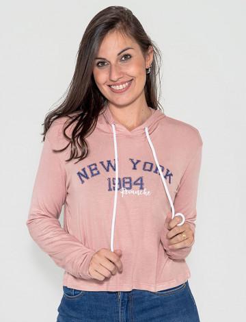 Blusa Atacado Capuz Feminina Revanche New York 1984 Rosa Frente