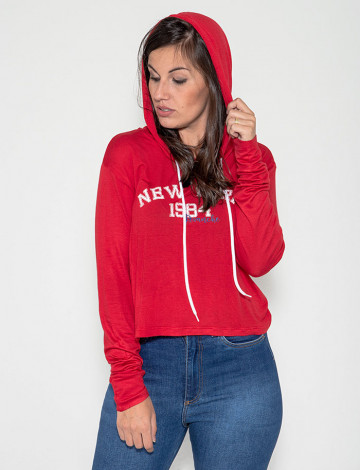 Blusa Atacado Capuz Feminina Revanche New York 1984 Vermelha Frente