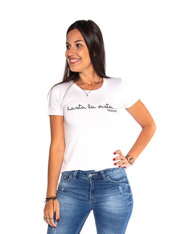 Blusa Atacado Estampa Feminina Revanche Hasta La Vista Branca Frente