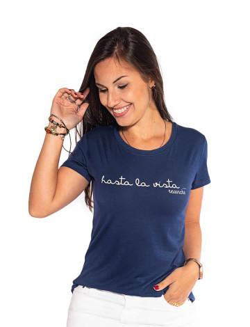 Blusa Atacado Estampa Feminina Revanche Hasta La Vista Azul Marinho Frente