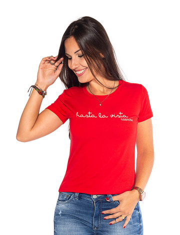 Blusa Atacado Estampa Feminina Revanche Hasta La Vista Vermelho Frente