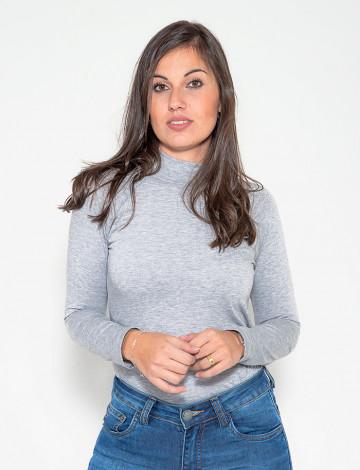 Blusa Atacado Manga Longa Com Abertura Nas Costas Feminino Revanche Helsink Mescla Frente