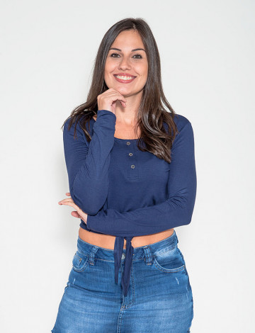 Blusa Atacado Manga Longa e Laço Feminina Revanche Jibuti Azul Marinho Frente