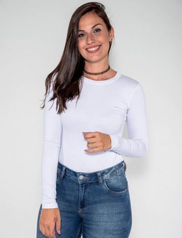 Blusa Atacado Manga Longa Feminina Revanche New Zeland Branco Frente
