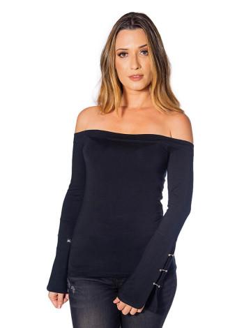 Blusa Atacado Ombro a Ombro Feminina Revanche Toulon Preta Frente
