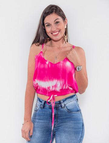Blusa Cropped Atacado Tie Dye Feminina Revanche São Jorge Rosa Frente