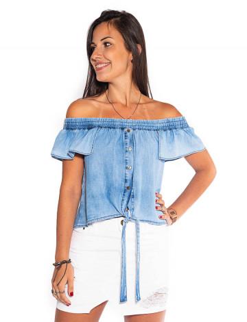 Blusa Jeans Atacado Ciganinha c/ Amarração Feminina Revanche San José Frente