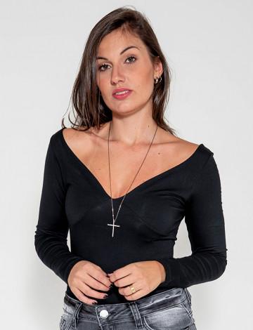 Blusinha Atacado Manga Longa Feminina Revanche San Marino Preto Frente