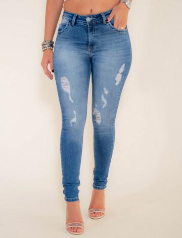 Calça Jeans Atacado Cigarrete Destroyed Revanche Adis Azul Frente