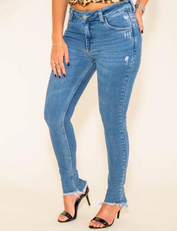 Calça Jeans Atacado Cigarrete Feminino Revanche Sylvere Azul Frente