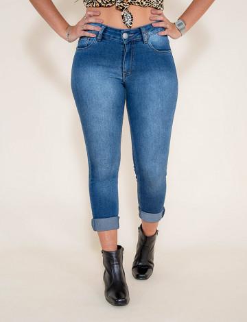 Calça Jeans Atacado Cigarrete Hot Pants Feminina Revanche Timbu Azul Frente