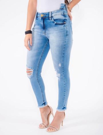 Calça Jeans Atacado Cropped Cós Traseiro Duplo Feminina Revanche Malta Azul Frente