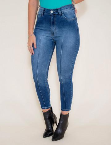 Calça Jeans Atacado Cropped Feminina Revanche Daca Azul Frente
