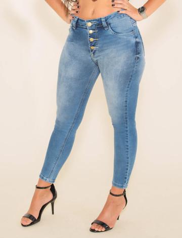 Calça Jeans Atacado Cropped Feminino Revanche  Adilene Azul Frente