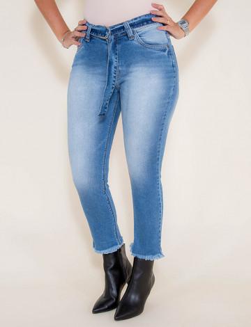 Calça Jeans Atacado Cropped Mom Jeans Feminina Revanche Chipre Azul Frente