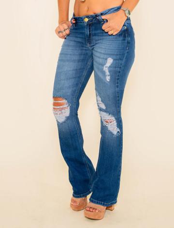 Calça Jeans Atacado Flare Feminino Revanche Ivonna Azul Frente