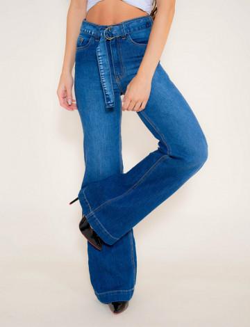 Calça Jeans Atacado Pantalona Feminina Revanche Asgabate Azul Frente