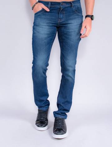 Calça Jeans Atacado Reta Masculina Revanche Boris Azul Frente