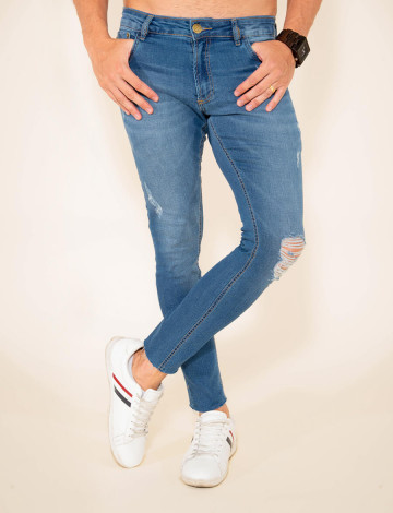 Calça Jeans Atacado Skinny Masculina revanche Tyson azul frente