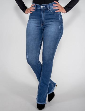 Calça Jeans  Atacado Flare Hot Pants Feminina Revanche Quinixau Azul Frente