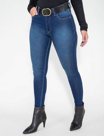 Calça Jeans Atacado Cigarrete Com Cinto Feminino Revanche Jamena Azul Frente