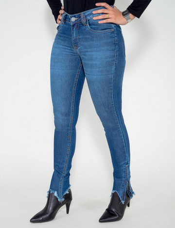 Calça Jeans Atacado Cigarrete Feminina Revanche Aalase Azul Frente