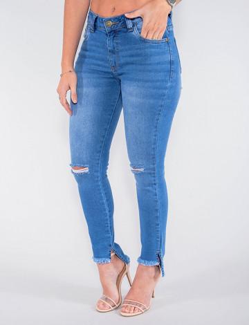 Calça Jeans Atacado Cigarrete Feminina Revanche Angola Azul Frente