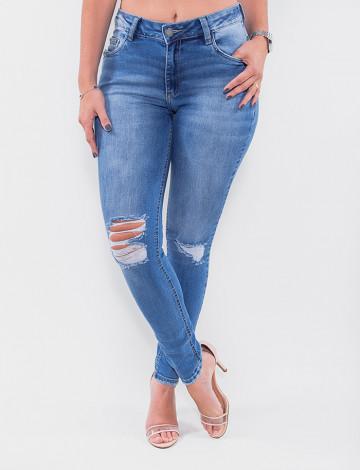 Calça Jeans Atacado Cigarrete Feminina Revanche Burúndi Azul Frente