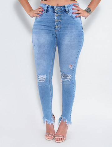 Calça Jeans Atacado Cigarrete Feminina Revanche Claire Azul Frente