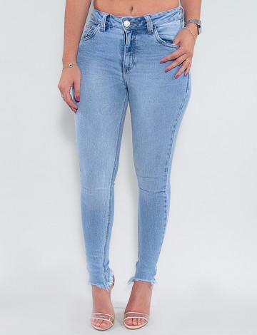 Calça Jeans Atacado Cigarrete Feminina Revanche Demeka Azul Frente