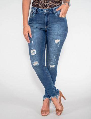 Calça Jeans Atacado Cigarrete Feminina Revanche Duchambé Azul Frente