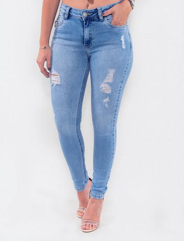 Calça Jeans Atacado Cigarrete Feminina Revanche Eritreia Azul Frente