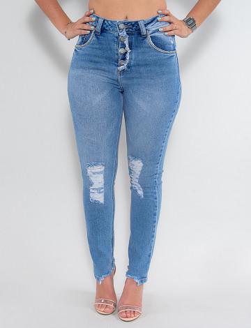 Calça Jeans Atacado Cigarrete Feminina Revanche Estella Azul Frente