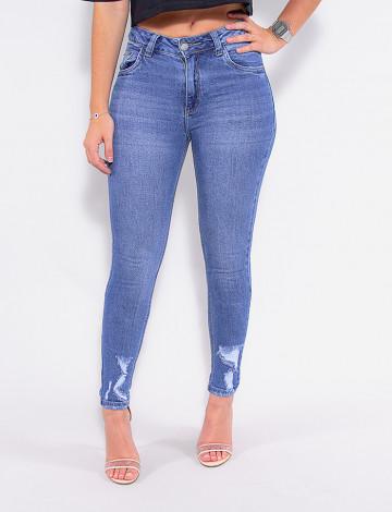 Calça Jeans Atacado Cigarrete Feminina Revanche Floriana Azul Frente