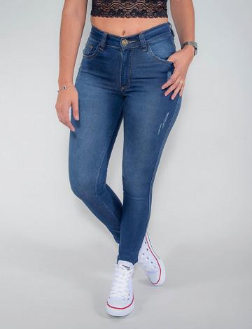 Calça Jeans Atacado Cigarrete Feminina Revanche Jordânia Azul Frente