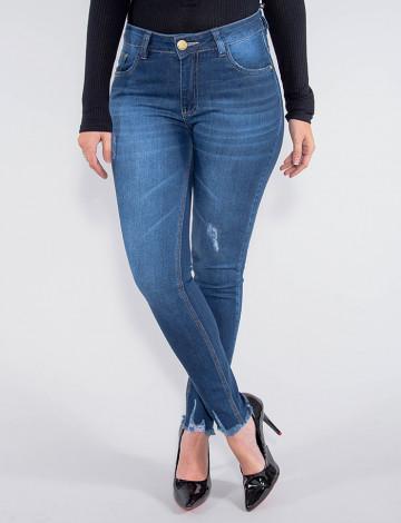 Calça Jeans Atacado Cigarrete Feminina Revanche Maláui Azul Frente