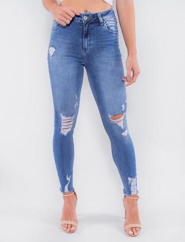 Calça Jeans Atacado Cigarrete Feminina Revanche Maputo Azul Frente