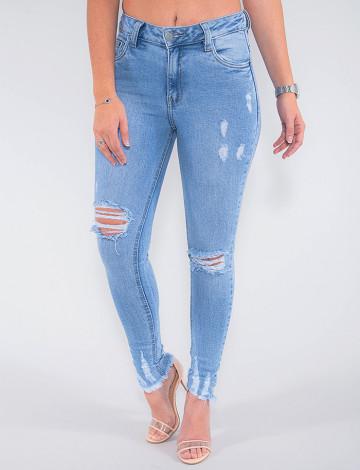 Calça Jeans Atacado Cigarrete Feminina Revanche Montenegro Azul Frente