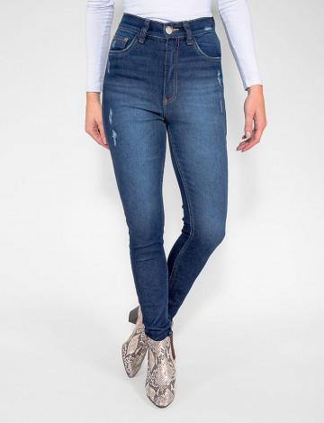 Calça Jeans Atacado Cigarrete Hot Pants Feminina Revanche Ulã Azul Frente
