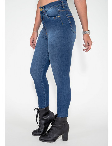 Calça Jeans Atacado Cigarrete Modeladora Feminina Revanche Praia 2 Azul Lateral