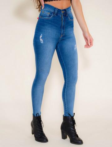 Calça Jeans Atacado Cigarrete Modeladora Feminino Revanche Praia Azul Frente