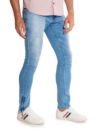 Calça Jeans Atacado Clara Zíper Lateral Masculina Revanche Lyon II Azul Lado
