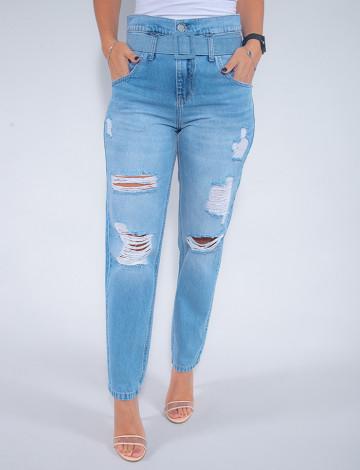 Calça Jeans Atacado Clochard Feminino Revanche Solange Azul Frente