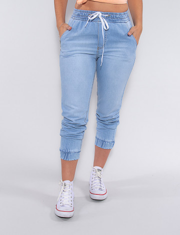 Calça Jeans Atacado com Elástico Feminina Revanche Lotty Azul Frente
