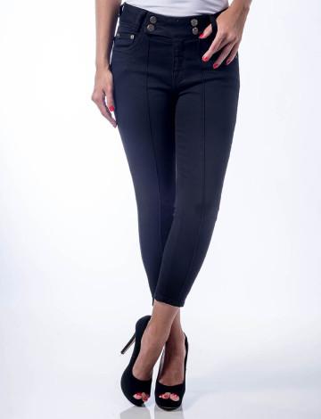 Calça Jeans Atacado Cropeed Friso Feminina Revanche Atenas Preto Frente