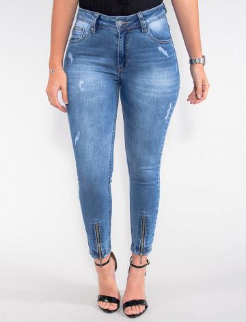 Calça Jeans Atacado Cropped Feminina Revanche China Azul Frente