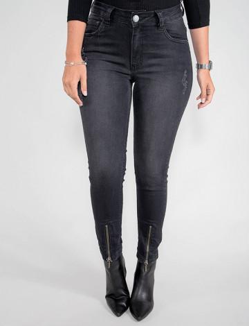 Calça Jeans Atacado Cropped Feminina Revanche Croácia Preto Frente